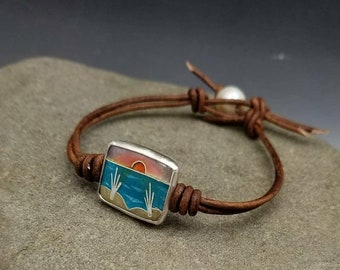 Sunset Cloisonne Beach Scene with REAL SAND from the Gulf Coast Fired into the Sand Dunes on Leather and Pearl Bracelet Silver Beach Life