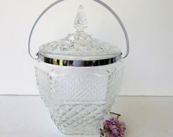 Mid Century Modern Pressed Glass Ice Bucket - Anchor Hocking Wexford Glass - Mid Century Modern Glassware - Barware -