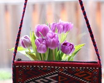 Handcrafted Bohemian Turkic Handbag Wool Tribal