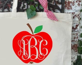 Apple with Monogram Large Canvas Tote Bag - Teacher's Shoulder Tote - Teacher Reusable Shopping Bag - Book Bag - Teacher Gift Idea
