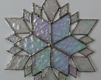 stained glass snowflake suncatcher  (design 36)