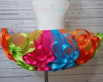 Hot pink, orange, lime and turquoise ribbon trimmed tutu ONLY