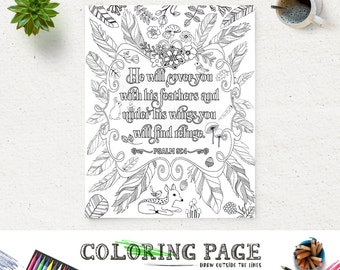 Printable Coloring Page Feather Bible Verse Psalm 91 Instant Download Adult Coloring Printable Bible Quote Digital Art Zen Coloring Pages