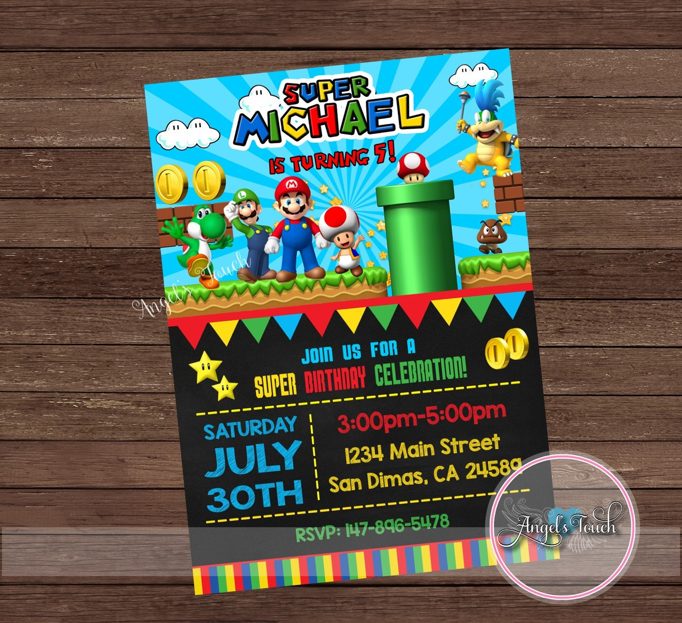 Super mario party invitation super mario birthday invitation zoom monicamarmolfo Gallery
