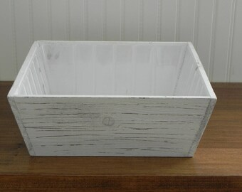 "Wooden Planter Container for Miniature Fairy Garden, rustic white box 12"" square with removable plastic liner, container for fairy garden"