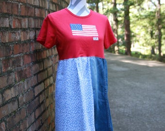 OOAK Upcycled Dress - Patriotic, Red, White, & Blue - American Flag Dress - Artsy Dress - Perfect for Fourth of July - Repurposed, Recycled