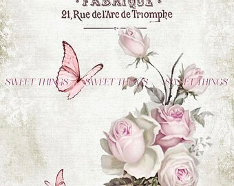 Vintage French Pink Rose Butterfly Graphic Image Art Fabric Block Doodaba