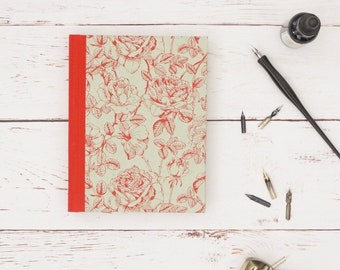 Handmade notebook and journal. Ideal for writing, planning, to-do lists. Mint green and red cover. Gifts for Her.