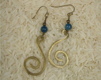 Hammered Brass Swirls with Apatite