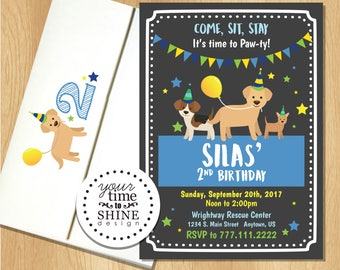 Dog Lover Party invitations with envelopes