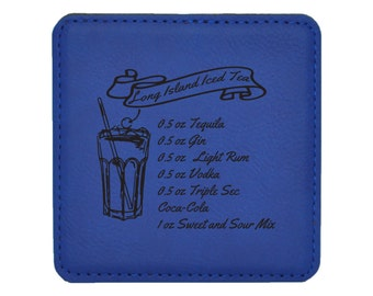 Long Island Iced Tea Drink Coasters - Classic Mixed Drink Recipies - Choice of Coaster Color and Shape - 067