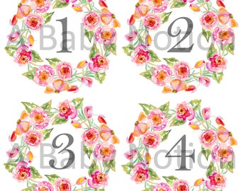 Floral wreath - 039 - pink floral wreath monthly stickers
