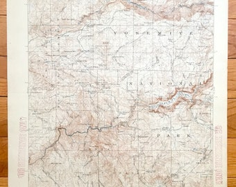 Antique Yosemite Valley and Hetch Hetchy Valley, Yosemite National Park, California 1909 US Geological Survey Topographic Map