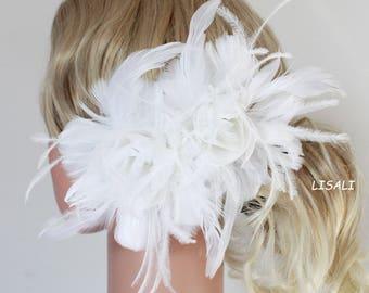 LISALI Bridal Feather Fascinator, Wedding Feather Headpiece,   Wedding Feather Hairpiece,White Feather Flower hairpin