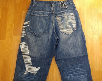 KARL KANI jeans, vintage baggy Kani jeans loose distressed blue 90s hip-hop clothing, oldschool 1990s hip hop, OG, gangsta rap, size W 32