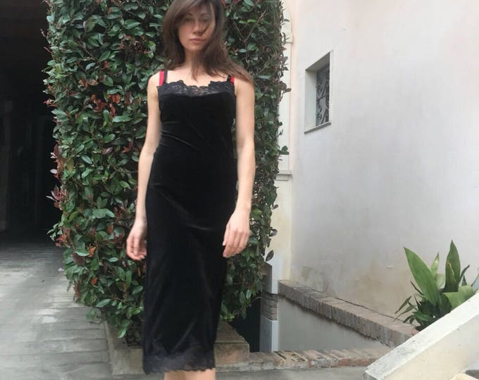 Party Black Velvet Dress with Lace, Women Elegant Sleeveless Dress, Extravagant Party Dress by SSDfashion