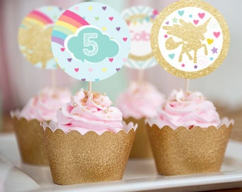 Unicorn Cupcake Toppers - Unicorn Toppers - Unicorn Party Decorations - Instant Download and Edit at home with Adobe Reader
