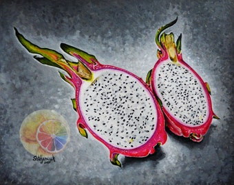 """Dragon Fruit Painting, Exotic Fruit, 8""""x10"""" original hand painted artwork, realistic dining room decor, kitchen wall art, cafe or home decor"""