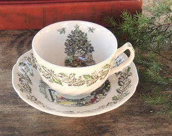 Vintage Johnson Brothers Merry Christmas Tea Cup Saucer Set Hand Engraving English Ironstone China Rustic Farmhouse Style