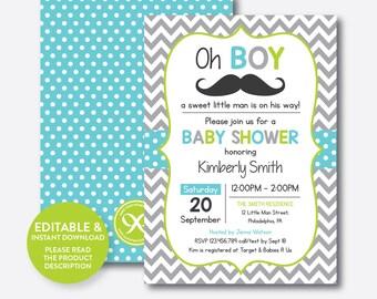 Instant Download, Editable Mustache Baby Shower Invitation, Mustache Invitation, Little Man, Boy Baby Shower, Blue Green Chevron (SBS.25)