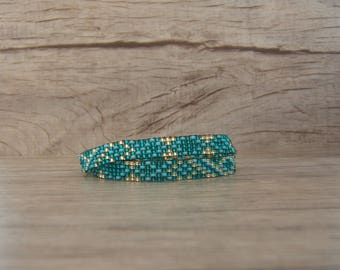 2 in 1 Bracelet 2 laps / Choker necklace, Choker, necklace, woven Emerald Turquoise and gold