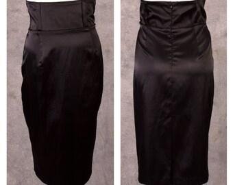 1980s does 1950s Black Satin Pencil Skirt