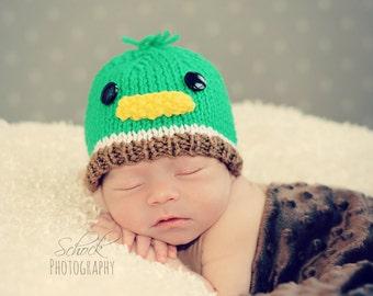 Mallard Duck Baby Hat | Mallard Duck Newborn Hat / Duck Baby Hat / Duck Newborn Hat / Autumn Baby Hat / Fall Baby Hat / Woodland Baby Hat