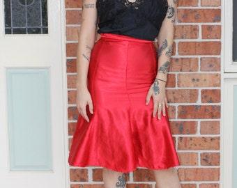 1990s does 1940s Red Satin Fishtail Skirt