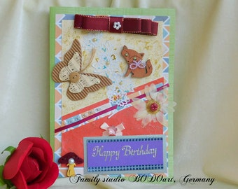 Happy Birthday card. Toddler birthday. Card with animals. Princess Birthday. Card with a cat. Children birthday. Gift for kids. Girls card.