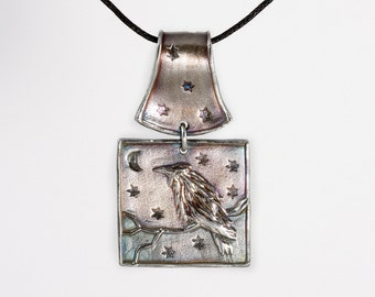 Fine Silver Raven Pendant