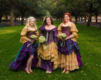 Bridesmaid Dresses, Bridal, Wedding, French, Purple and gold, Steampunk, Renaissance, Steampunk, Themed Wedding, Costume, Halloween, Corset