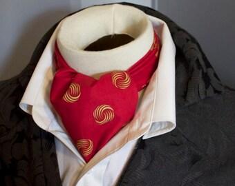 Pure Cotton - Red and Gold - DAY Cravat Victorian Ascot Tie Cravat