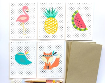 Blank Card Pack | Blank Card Set of 5 Cards | Flamingo, Fox, Pineapple, Bird, Watermelon - 5P018 | Blank Greeting Cards Set | Blank Cards
