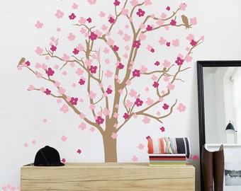 Cherry Tree Wall Decal - Tree Wall Sticker with Cherry Blossoms - Wall Decor Tree Decal - WAL-2120