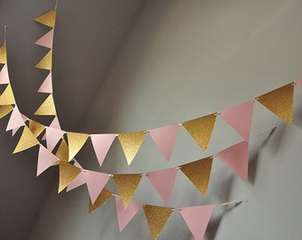 Bunting Banner for Pink and Gold Party Decor.  Handcrafted in 2-5 Business Days.  Pennant Banner.  Photo Backdrop.