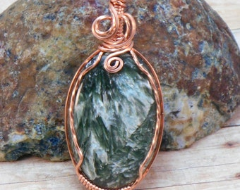 Seraphinite and Copper Wire Pendant, Wire Wrapped Pendant, Wire Wrapped Necklace, Green and Copper, Healing Gemstone Necklace
