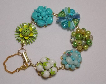 Cluster Earring Statement Bracelet in Turquoise, Lime Green, Blue and White from Repurposed Reworked Mid-Century Jewelry
