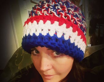 Red white and blue beanie