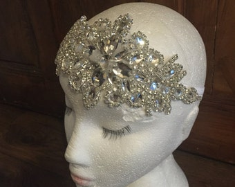 Vintage Silver Bridal Headband, Wedding Headband, Crystal Headband, Wedding Headpiece, Elastic Bridal Headpiece, 1920s Flapper headband