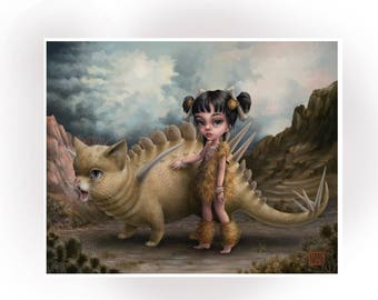Dawn of the Dinokitties™ - Limited Edition signed 8x10 pop surrealism Fine Art Print by Mab Graves