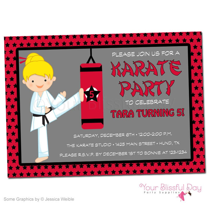 PRINTABLE Girl Karate Party Invitations Character of your