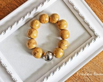Bracelet Woody glamour stretch Boho wood beads thick bracelet big beads