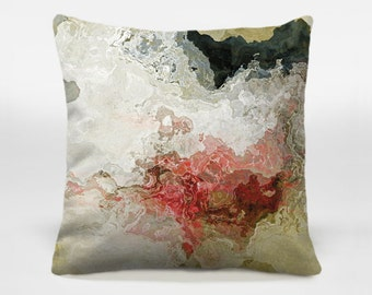 Accent pillow cover with abstract art, 16x16 and 18x18 warm gray and red decorative pillow cover, neutral throw pillow, Benediction