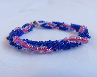 Lacey/Spiral Beadwoven Bracelet in Blue and Pink