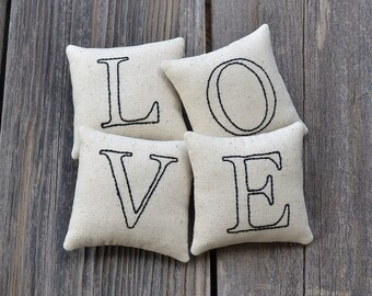 LOVE Decorative Pillows, Wedding Decor Bowl Fillers, Anniversary Gift, Hand Embroidered Valentines Day Home Decor, Black Ticking