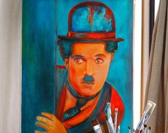 Oil painting Charles Chaplin