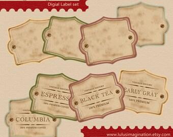 Instant download - Vegetables in Autumn - Digital Vintage Label Set