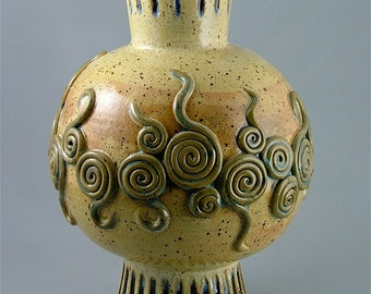 DISCOUNTED *55%* Wheel-Thrown/Hand-Built Sculptural Vessel or Urn - Gold with Spirals