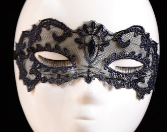 Black Embroidery Tulle Mask, Lace Mask, Halloween Mask, Lace Masquerade Mask