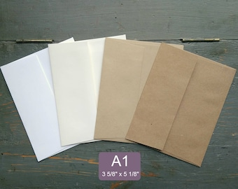 "100 Eco Friendly A1 Envelopes for RSVP/Thank You/Response Cards, Recycled, 3 5/8"" x 5 1/8"", White, Natural White, Light Brown, Kraft Brown"